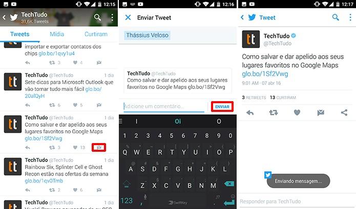 Twitter para Android e iOS pode ter tuíte compartilhado por mensagem direta (Foto: Reprodução/Elson de Souza)