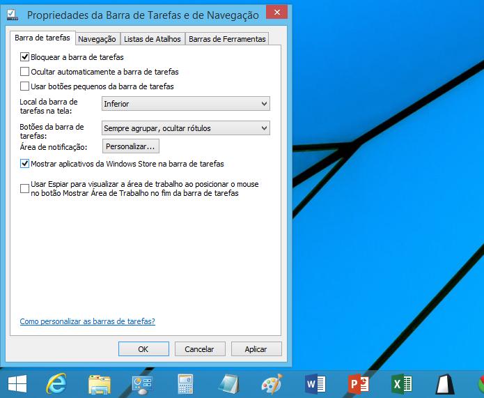 Configurando exibição de apps na barra de tarefas (Foto: Reprodução/Helito Bijora)