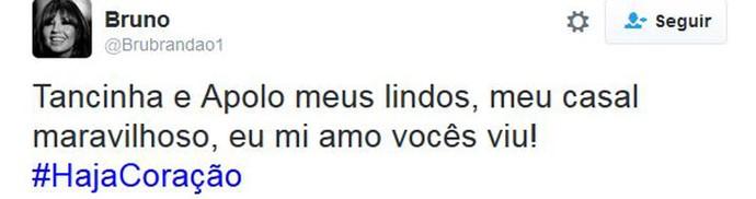 Tweet Aponcinha (Foto: Twitter)