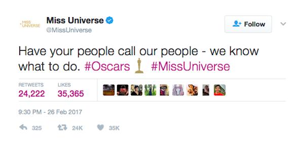 A brincadeira dos responsáveis do perfil Miss Universo com a confusão no Oscar (Foto: Twitter)