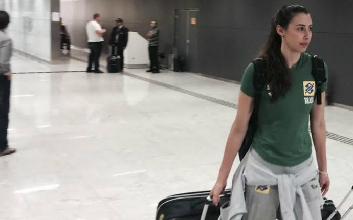 Sheilla, seleção brasileira feminina de vôlei desembarque (Foto: Guilherme Costa)