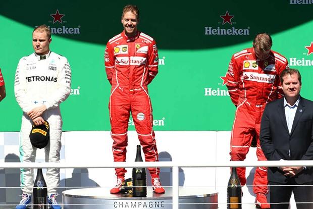 Sebastian Vettel_Ferrari  P1, Valtteri Bottas_Mercedes P2 e Kimi Raikkonen_Ferrari P3 (Foto: Beto Issa/GP Brasil de F1)