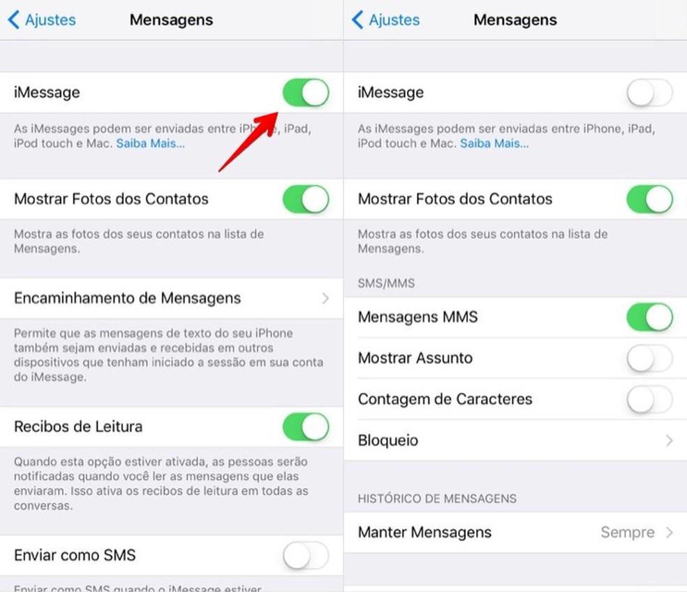 Desativando o iMessage no iOS (Foto: Reprodução/Helito Bijora)
