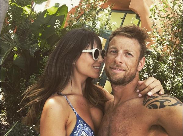 A modelo Brittny Ward e o piloto Jenson Button (Foto: Instagram)