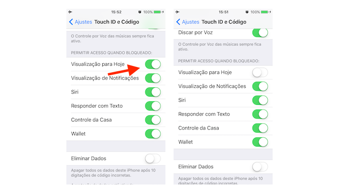 Opção para desativar os widgets na tela bloqueada do iOS 10 (Foto: Reprodução/Marvin Costa)