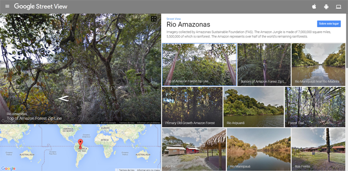 Registro de trechos da Amazônia é realizado pela FAS com Trekker do Google (Foto: Reprodução/Filipe Garrett)
