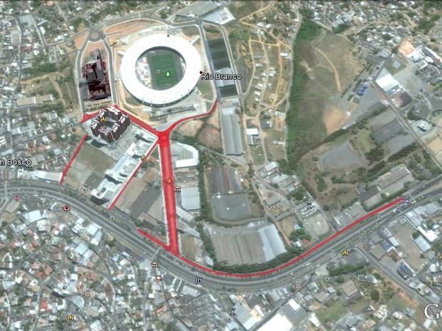 Mapa mostra as interdições no trânsito para o jogo do Flamengo em Cariacica (Foto: Arte/ Prefeitura de Cariacica)