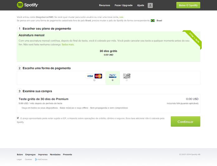 É possível ter 30 dias no Spotify Premium grátis (Foto: Thiago Barros/Reprodução)