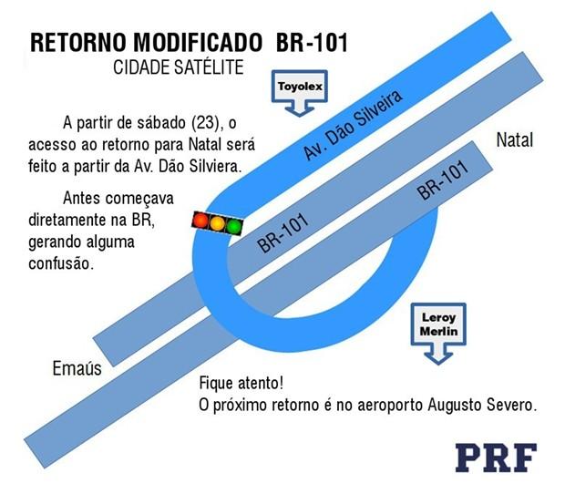 A partir deste sábado (23), retorno da BR-101 entre Natal e Parnamirim será feito pela marginal (Foto: Divulgação/ PRF)
