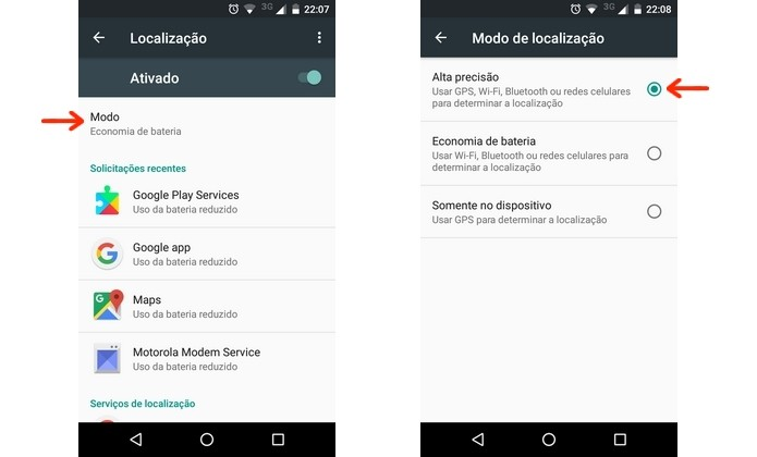 Ativação do modo de alta precisão do Android (Foto: Reprodução/Raquel Freire)