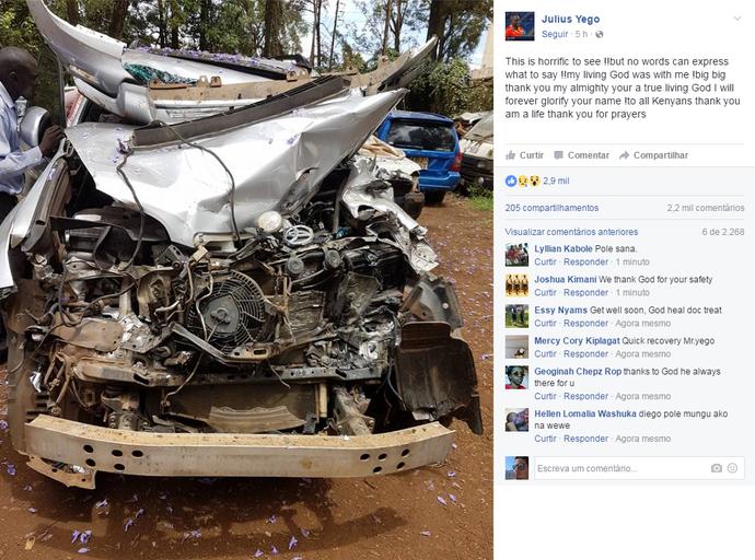 Julius Yego mostra estado do carro após acidente no Quênia (Foto: Divulgação)