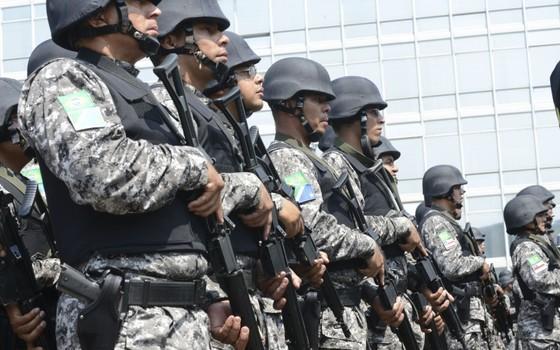 163 policiares militares da Força Nacional de Segurança Pública foram formados neste sábado (28). Eles atuarão em áreas de fronteira internacional do Brasil de 11 estados (Foto: Antonio Cruz /ABr)