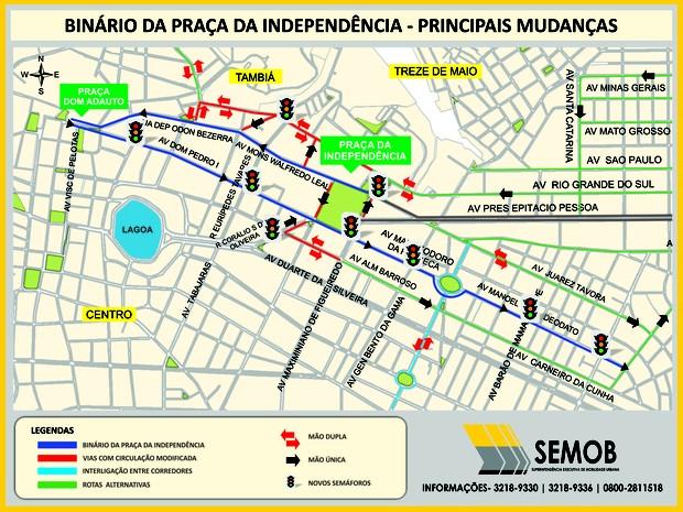 Veja o mapa com as alterações no Centro de João Pessoa (Foto: Divulgação/Secom-JP)