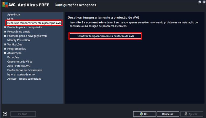 Opção está na barra de configurações do antivírus (Foto: Reprodução/AVG)
