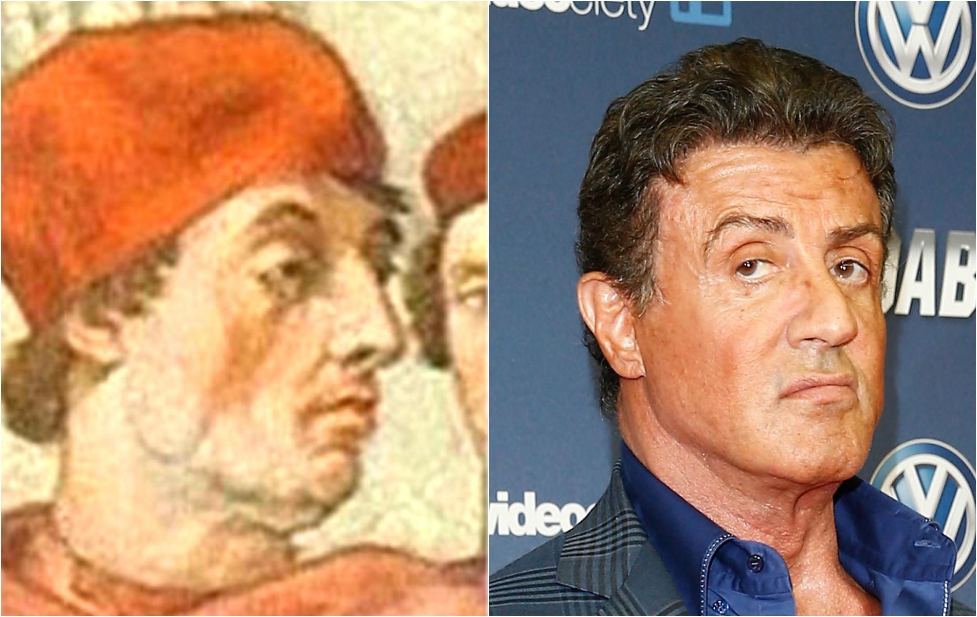 Sylvester Stallone e Ugolino di Conti, o papa Gregório IX, morto em 1241. (Foto: Reprodução e Getty Images)