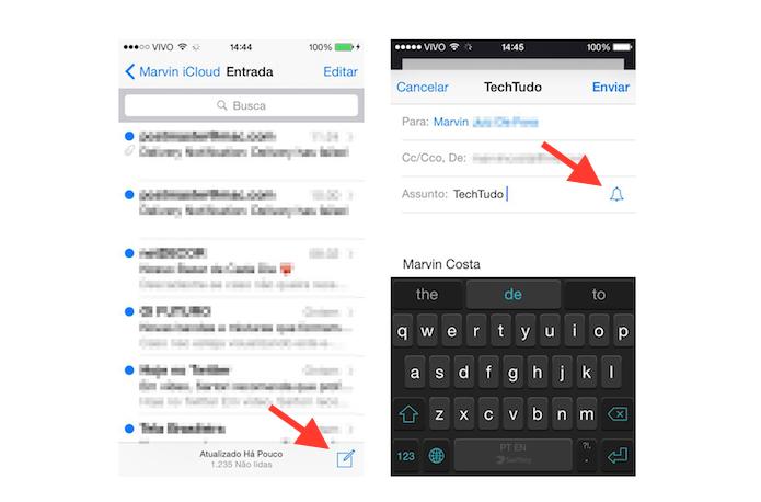 Enviando um e-mail e ativando notificações de resposta no Mail do iOS 8 (Foto: Reprodução/Marvin Costa)