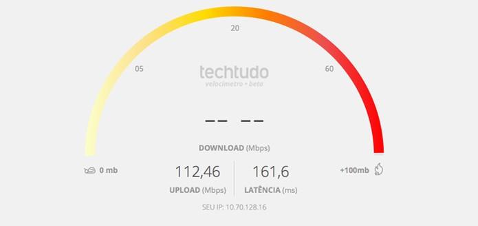Velocímetro do TechTudo vai mostras taxas de Upload e Latência da sua conexão (Foto: Reprodução/TechTudo)