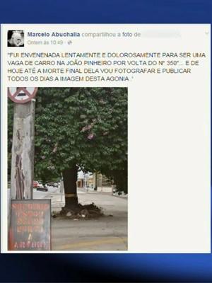 Postagem em rede social mostra revolta dos moradores (Foto: Reprodução/EPTV)