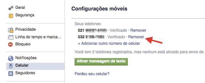 Iniciando a exclusão de um número de celular vinculado a um perfil do Facebook (Foto: Reprodução/Marvin Costa)