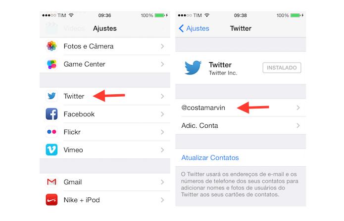 Acessando as configurações de uma conta do Twitter vinculada a um iPhone (Foto: Reprodução/Marvin Costa)