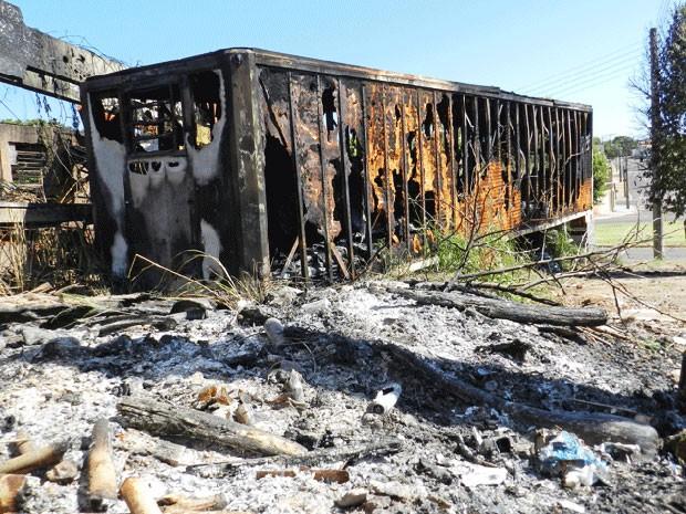 Incêndio em terreno destrói ônibus e baú de caminhão (Foto: Heloise Hamada/G1)