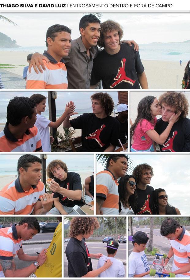 Mosaico - Thiago Silva e David Luiz (Foto: Márcio Iannacca e Marcelo Baltar)