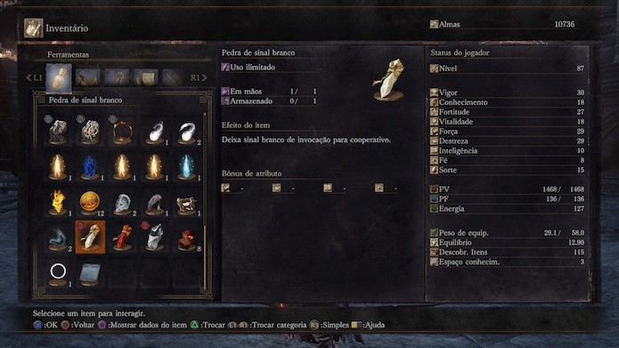 Dark Souls 3: sinal branco de invocação para o modo cooperativo (Foto: Reprodução/Victor Teixeira)