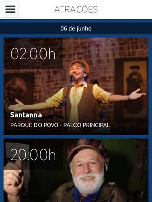 Aplicativo mostra atrações, entre outros serviços (Foto: Reprodução/São João de Campina Grande 2014)