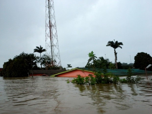 Cheia do Rio Acre atinge 100% de Brasiléia (Foto: Andrey Santana/ Secom Acre)