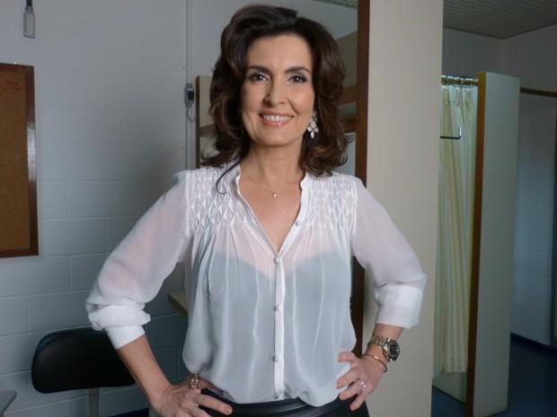Fátima Bernardes nos bastidores do Domingão (Foto: Domingão do Faustão/ TV Globo)
