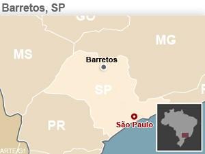 Mapa para localização de Barretos (Foto: Arte/ G1)