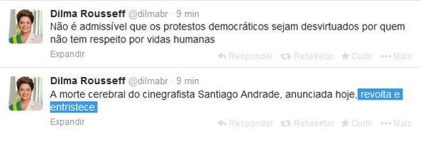 Dilma diz no Twitter que a morte do cinegrafista Santiago Andrade revolta e entristece. (Foto: Reprodução)