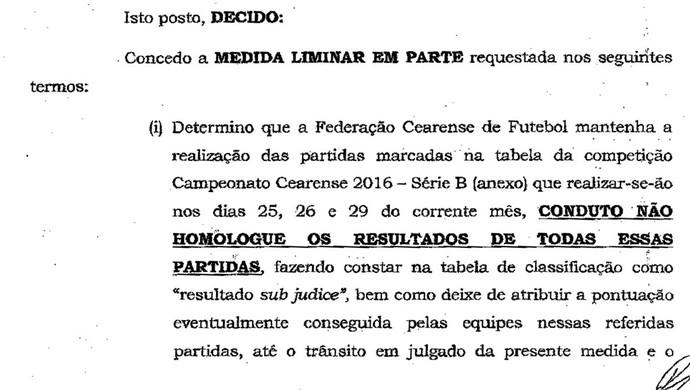 Documento Série B Cearense (Foto: Reprodução)