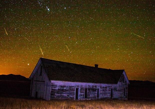 Imagem composta de várias fotos tiradas durante a chuva de meteoros Orionídeas mostra alguns dos meteoros que cruzaram o céu no dia 21 de outubro em South Park, no estado de Colorado (Foto: Reprodução/Facebook/Joe Randall)