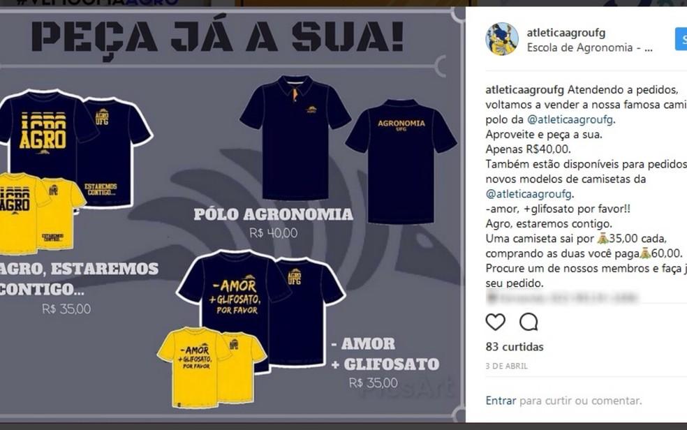 Até o semestre passado, camiseta pedindo 'mais glifosato' era vendida a R$ 35, sendo duas por R$ 60 (Foto: Reprodução/Instagram)