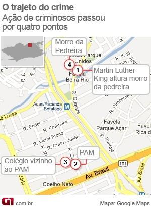 Mapa da perseguição de PMs a criminosos que terminou com uma mulher ferida no Rio (Foto: arte/G1)