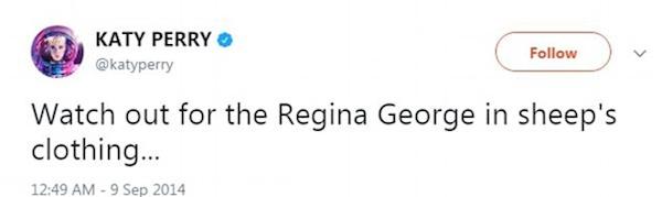 A piada feita por Katy Perry com Taylor Swift e o filme Meninas Malvadas em 2014 (Foto: Twitter)