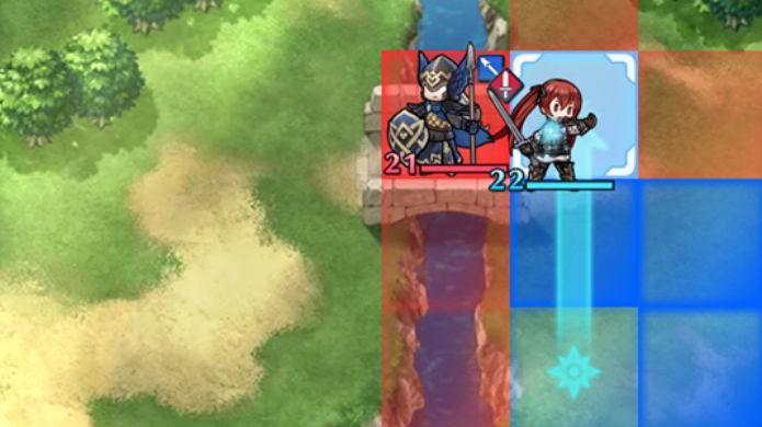 Fire Emblem Heroes: os personagens se movem até o limite das áreas azuis (Foto: Reprodução / Thomas Schulze )