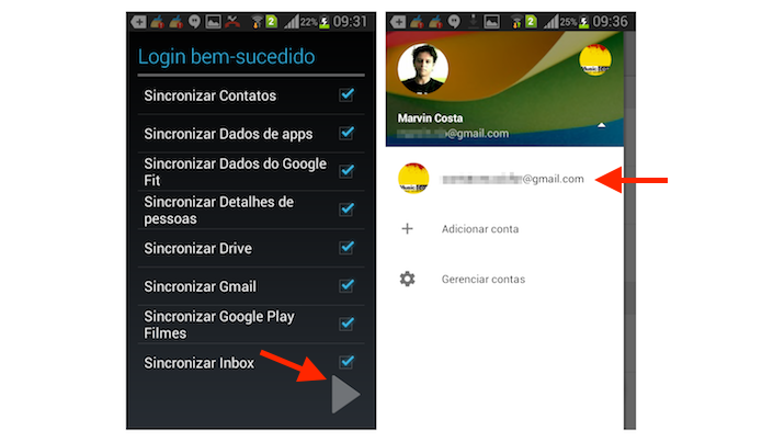 Acessando uma segunda conta do Google Drive que foi logada no Android (Foto: Reprodução/Marvin Costa)