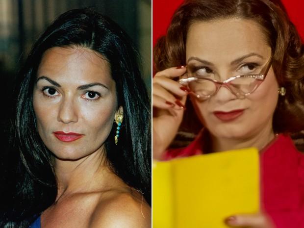 Antes e depois! À esquerda, Luiza Brunet como Tereza, de Anjo Mau, e, à direita, na microssérie do Fantástico (Foto: CEDOC / Daniel Primo / TV Globo))