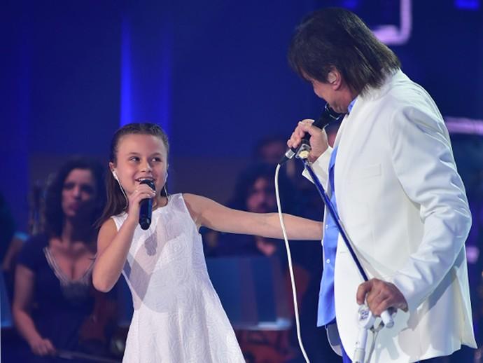 Roberto Carlos se encantou por Rafa Gomes e convidou a cantora mirim para seu Especial (Foto: Mauricio Fidalgo/Globo)