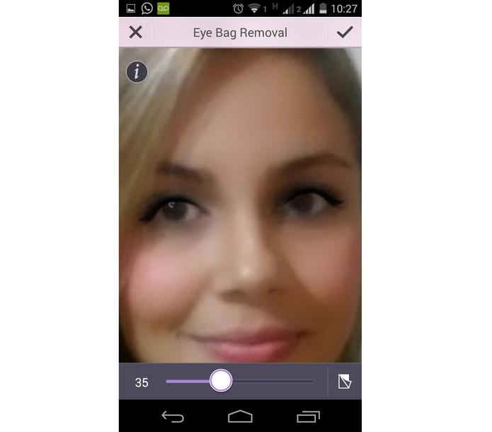 Removedor de olheiros do YouCam Makeup (Foto: Reprodução/ Marcela)