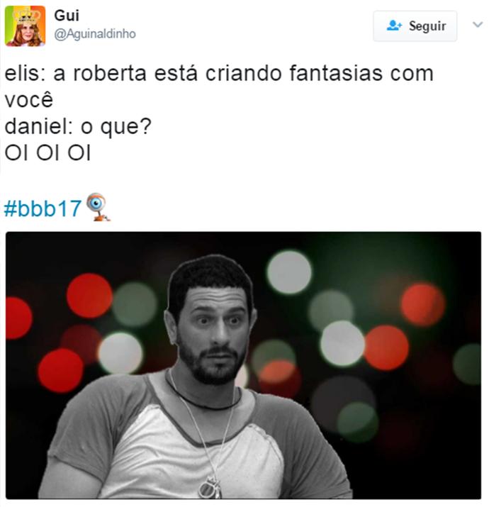 A descoberta do crush de Roberta em Daniel  (Foto: Reprodução Internet/ Reprodução Twitter @Aguinaldinho)