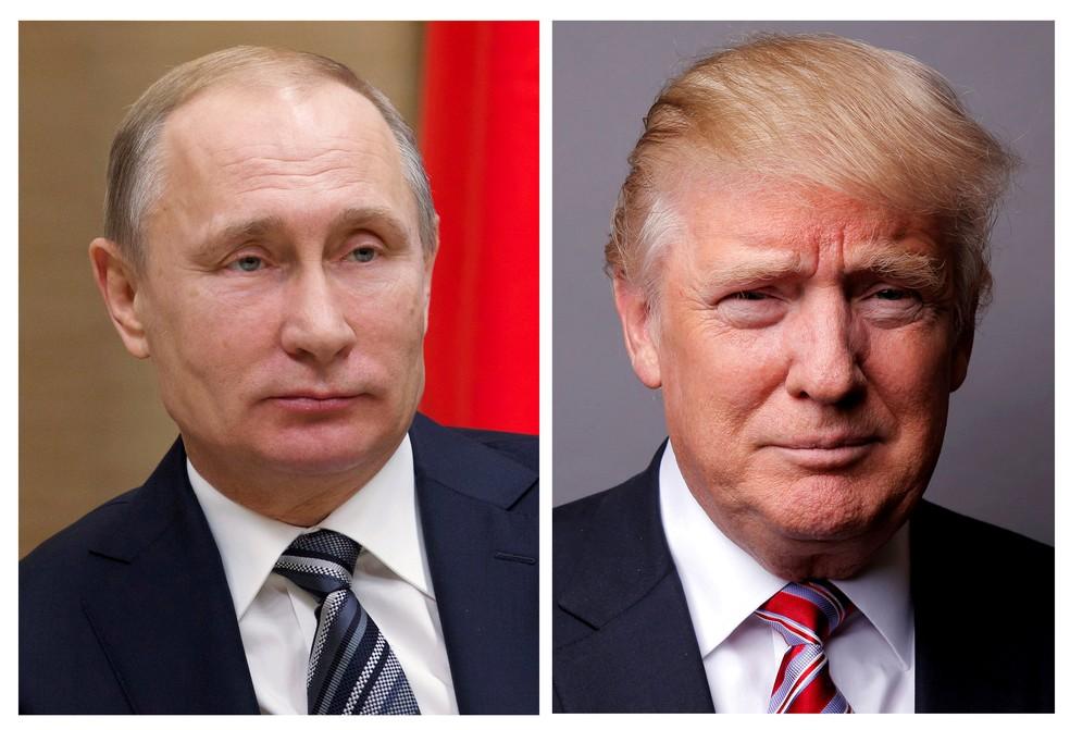 Combinação de imagens de arquivo mostra os presidentes Vladimir Putin e Donald Trump (Foto: REUTERS/Ivan Sekretarev/Pool/Lucas Jackson/File Photos )