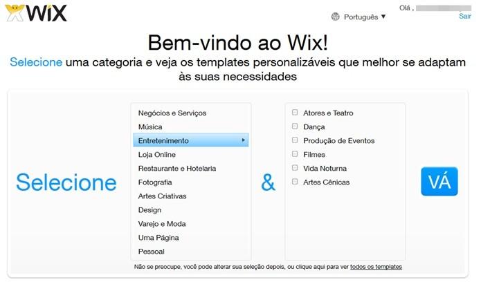 Selecione categorias para o Wix (Foto: Reprodução/Carolina Ribeiro)