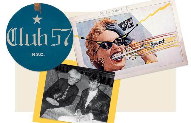 Obra de Kenny Scharf, de 1979; e, abaixo, o artista ao lado de Andy Warhol, em 1986 (Foto: Joseph Szkodzinski, Moma, Cortesia De Kenny Scharf e Da Galeria Honor Fraser, Getty Images, Divulgação e Gary Burden)
