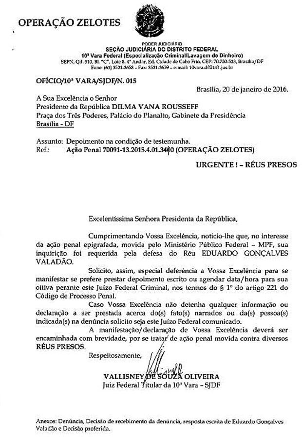 A notificação enviada à presidente Dilma Rousseff pelo juiz federal (Foto: Reprodução)