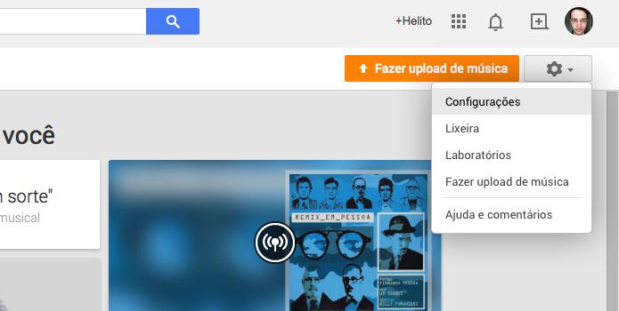 Acesse as configurações do Google Play Música (Foto: Reprodução/Helito Bijora)
