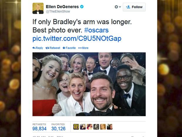 Ellen tira uma 'selfie' com Meryl Streep, Julia Roberts, Lupita Nyong'o, Jennifer Lawrence e grande elenco. (Foto: Twitter/TheEllenShow)