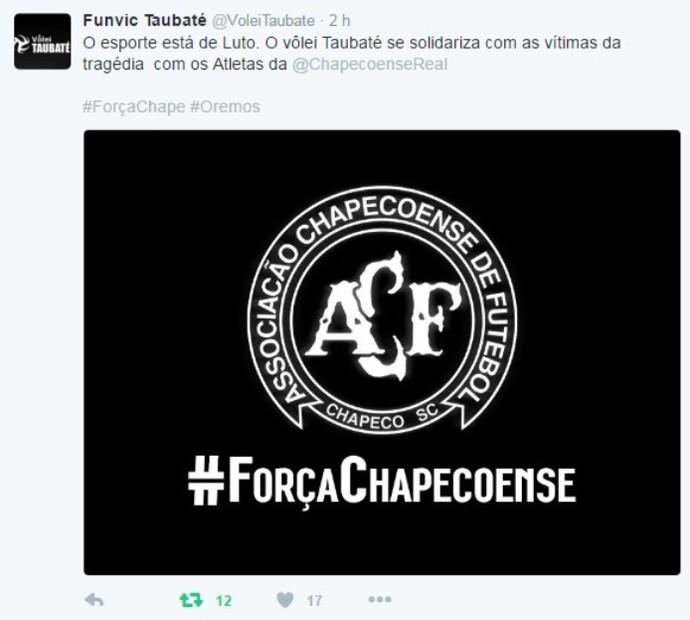 Vôlei Taubaté homenageia Chapecoense (Foto: Reprodução/Twitter)